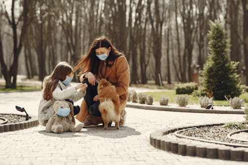 Happy woman with cute girl wearing protective mask and playing with adorable dog in park alley