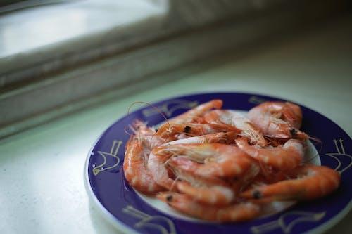 Shrimp On Blue Plate