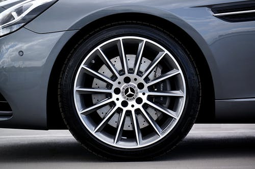 Silver Mercedes Benz Wheel With Tire