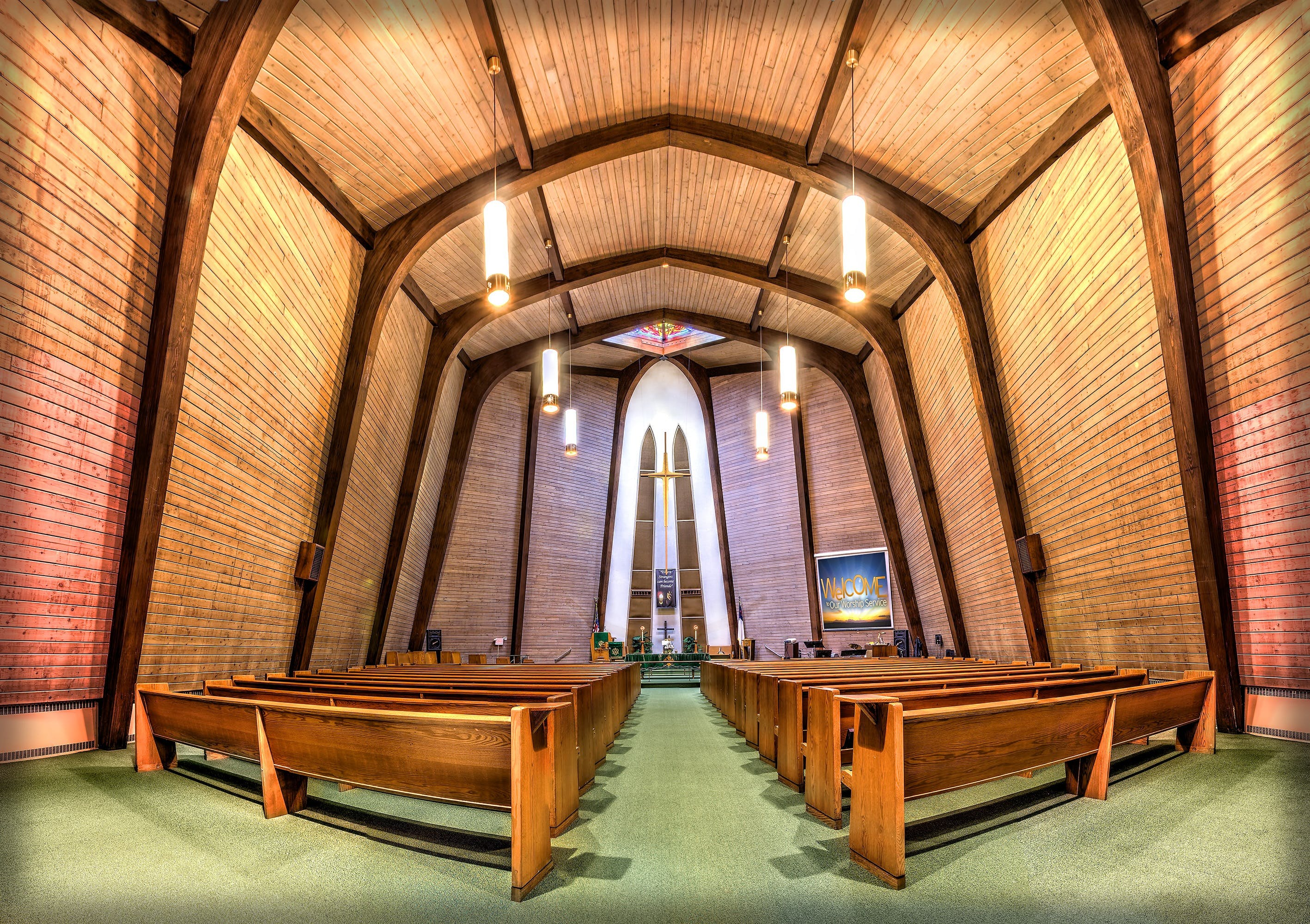 Wood Pews in Church Fisheye Photo