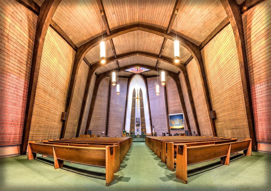 Wood Pews in Church Fisheye Photo