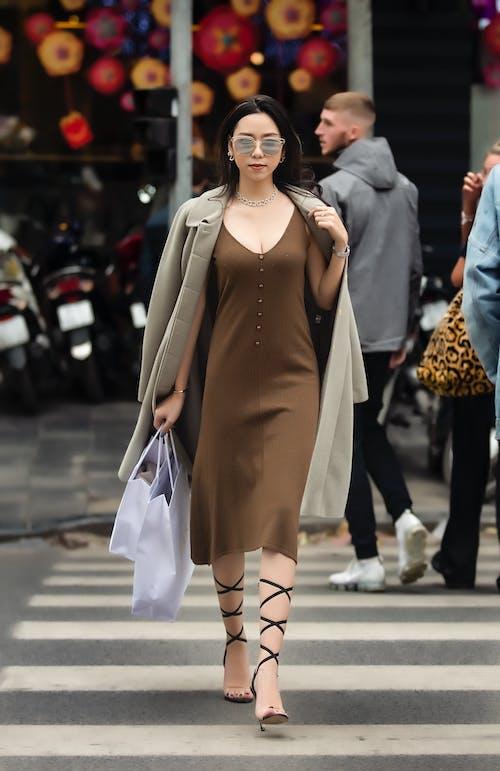 Woman In Brown Long Dress