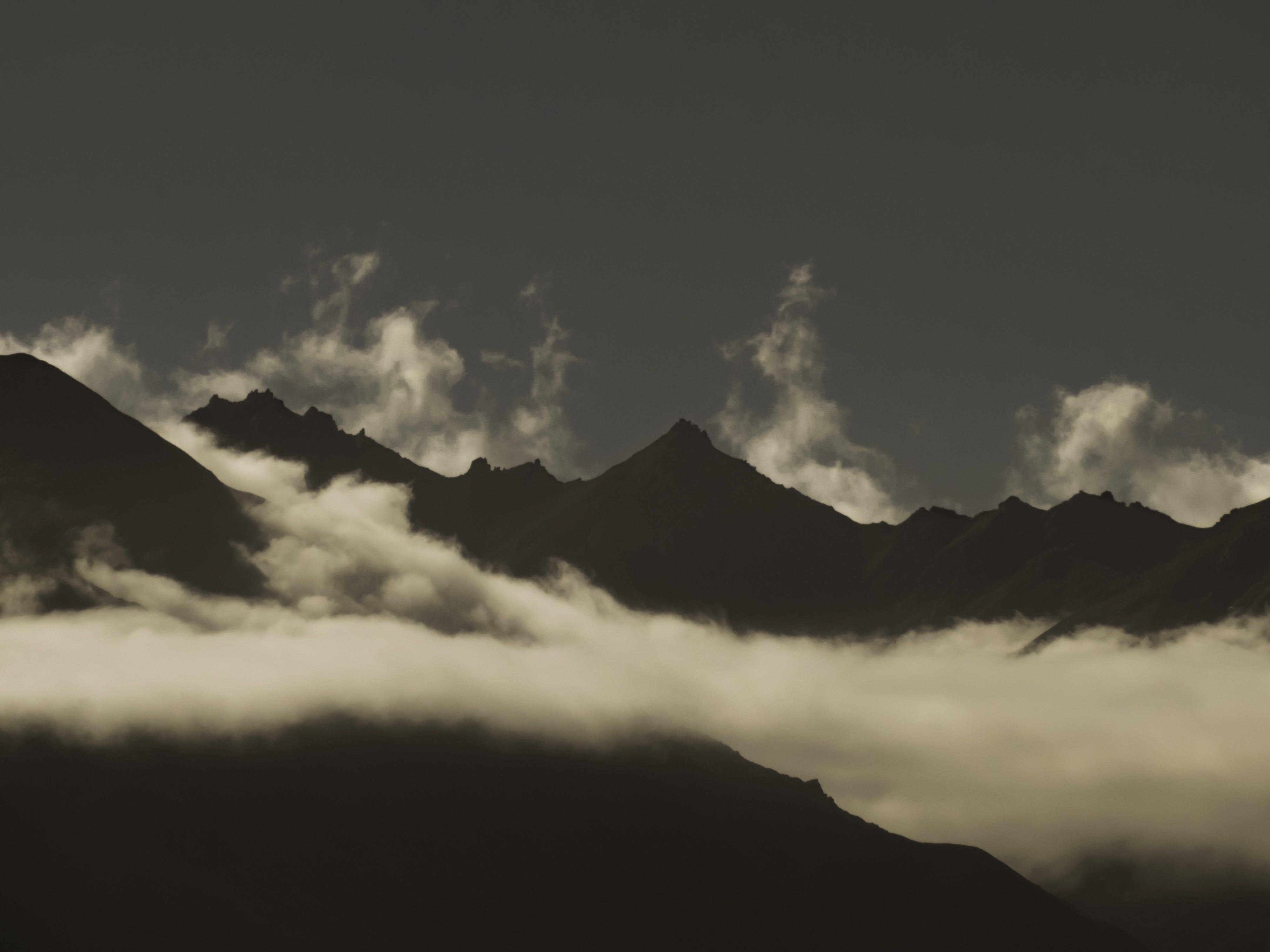 Free stock photo of mountains, night, clouds, dark