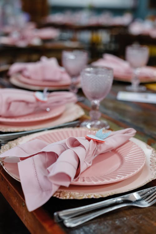 Pink Ceramic Plate With Stainless Cutlery
