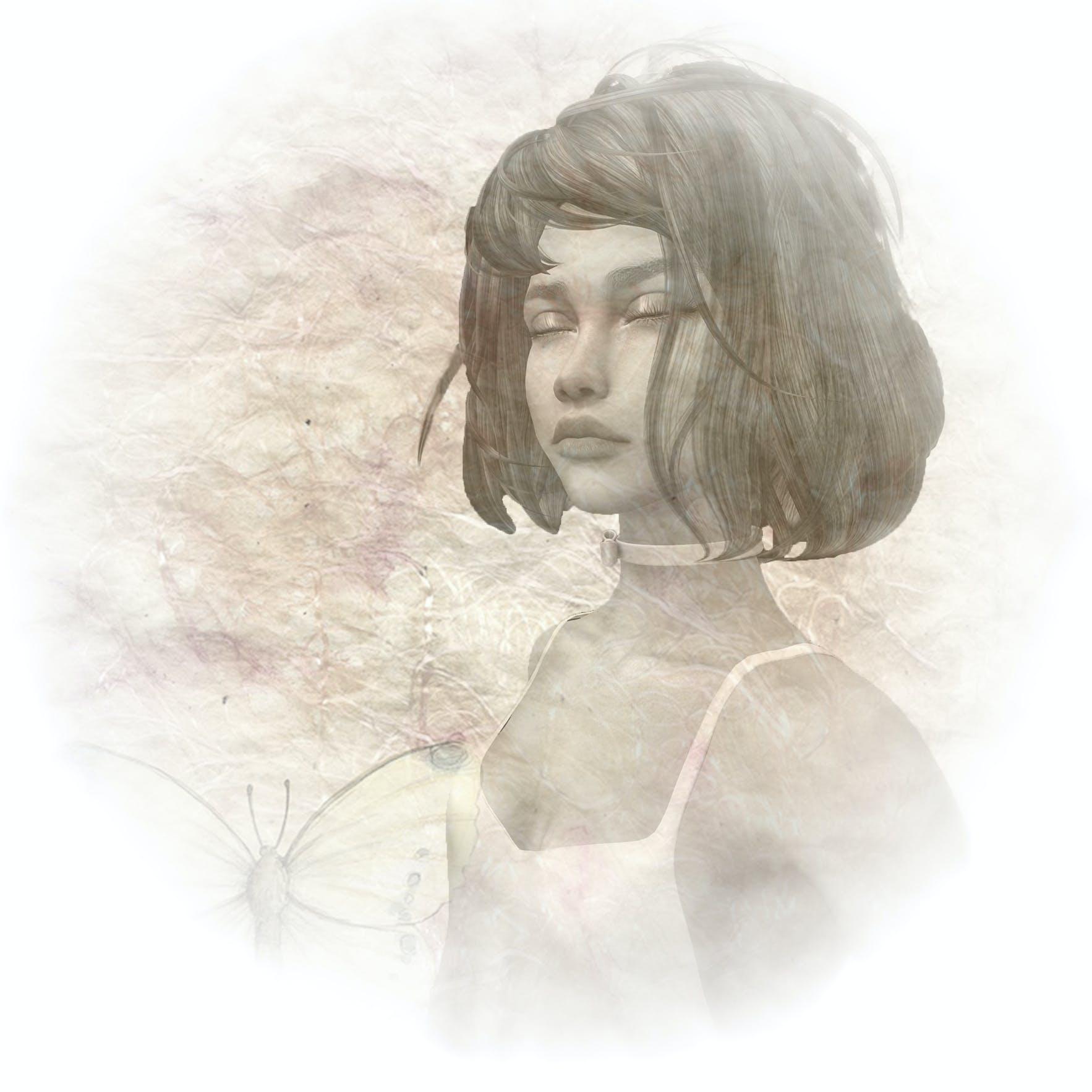 black and white, girl, portrait