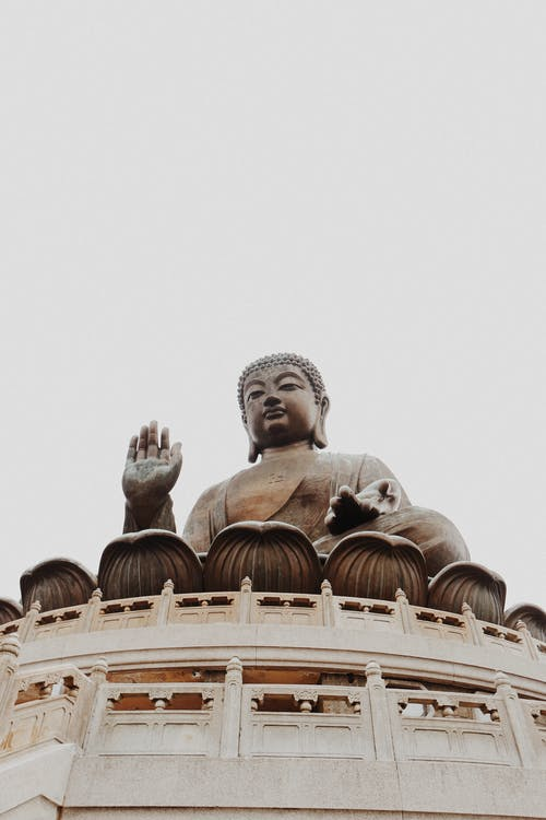 Po Lin Monastery with statue of Buddha in Hong Kong