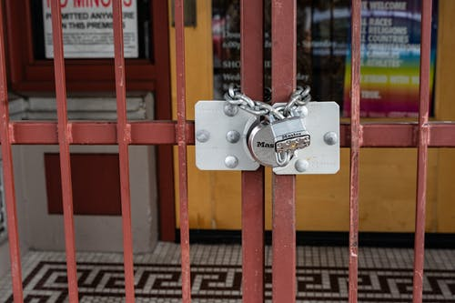 Red Metal Gate With Padlock