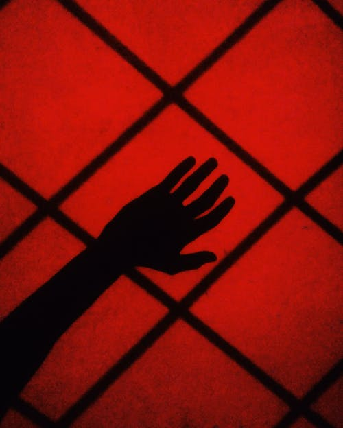 Silhouette of Hand on Red Floor Tiles