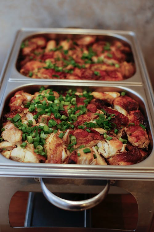 Cooked Food on Stainless Steel Tray