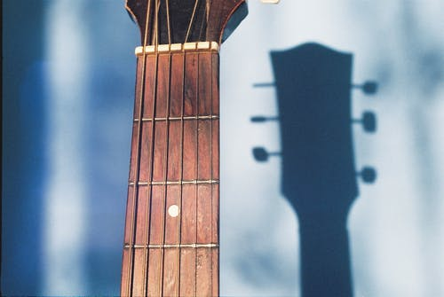 Free stock photo of acoustic guitar, analog photography, shadows, sunlight