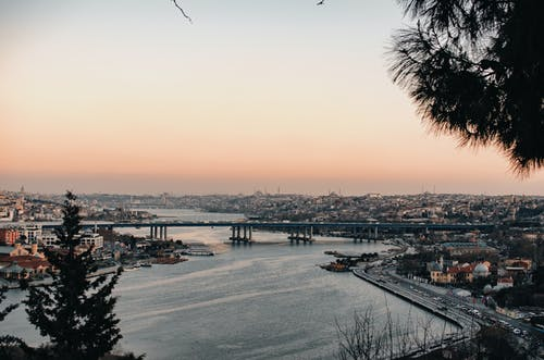 Picturesque cityscape with river during sundown