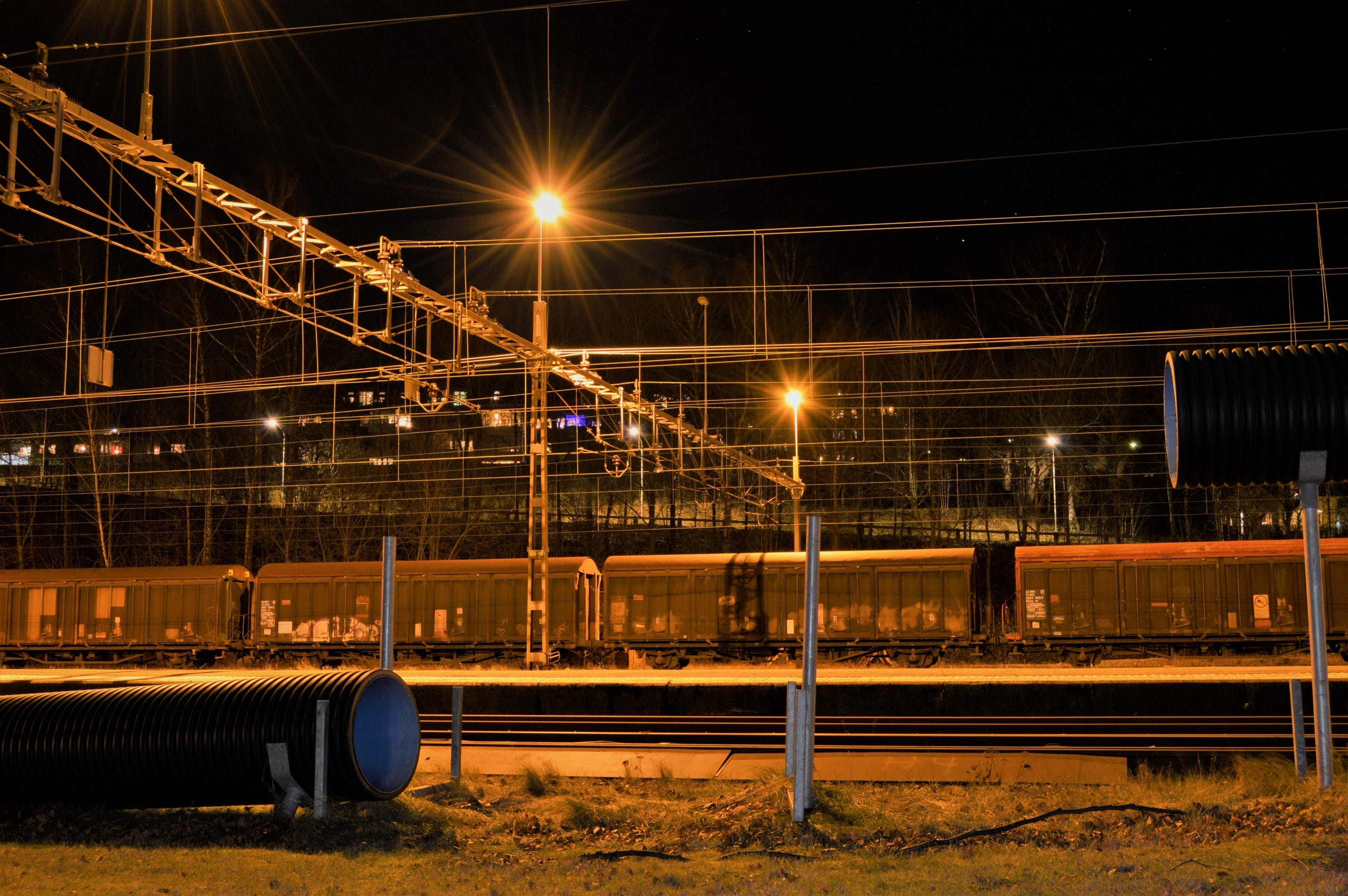 Free stock photo of light, lights, night, train