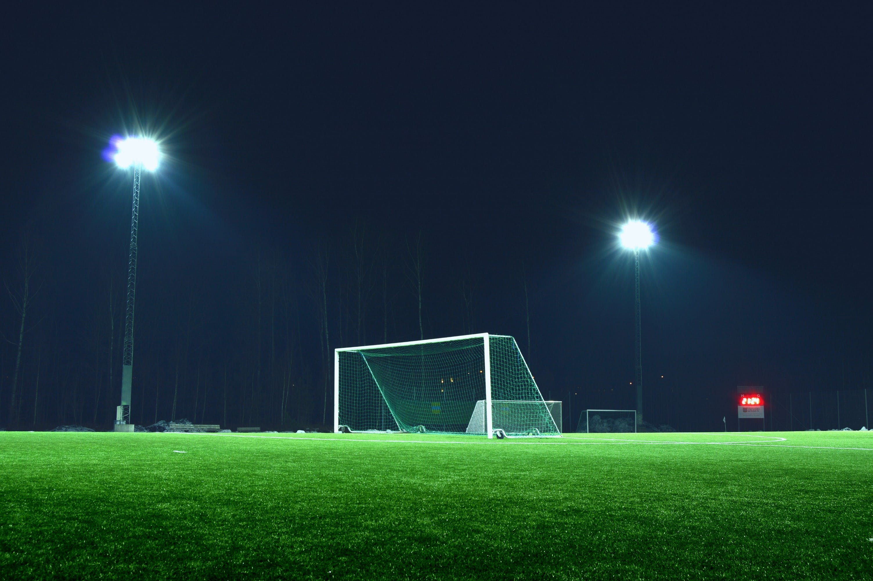 Free stock photo of evening, field, football, goal