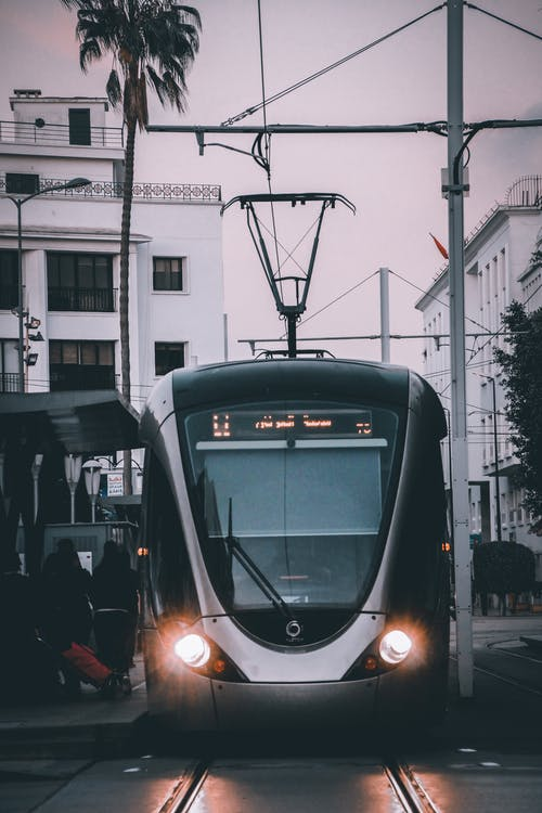 Black and White Tram on the Street