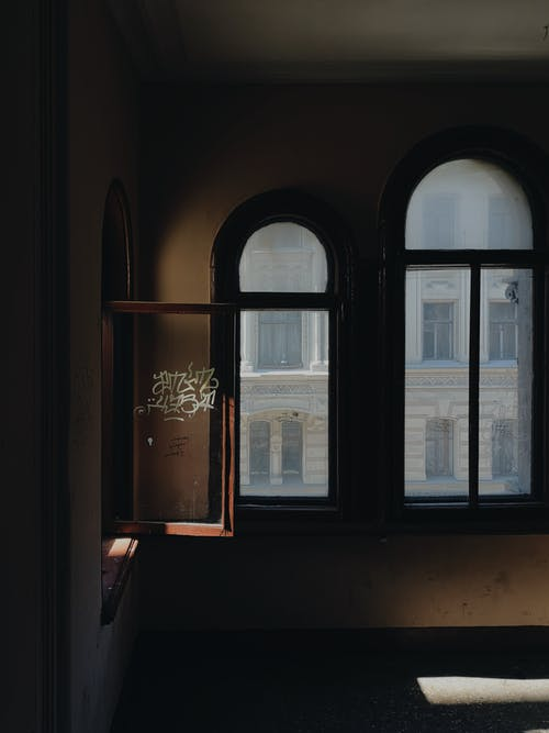 Dark empty room in old abandoned building