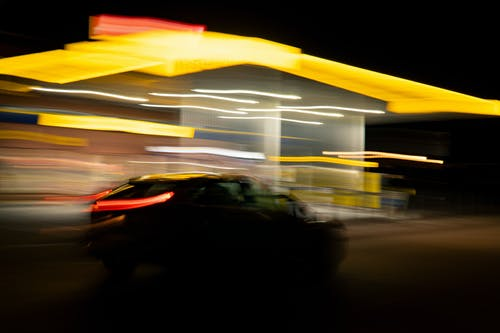 Free stock photo of car, car lights, driving, gas station