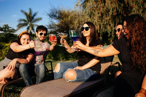 Group of friends drinking alcoholic beverages in park