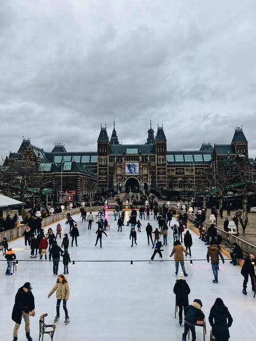 People Ice Skating Near Artexpo Amsterdam