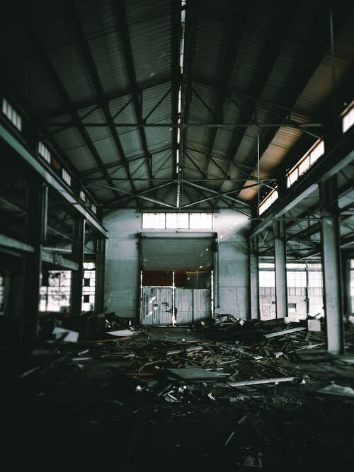 Large hall in empty abandoned building