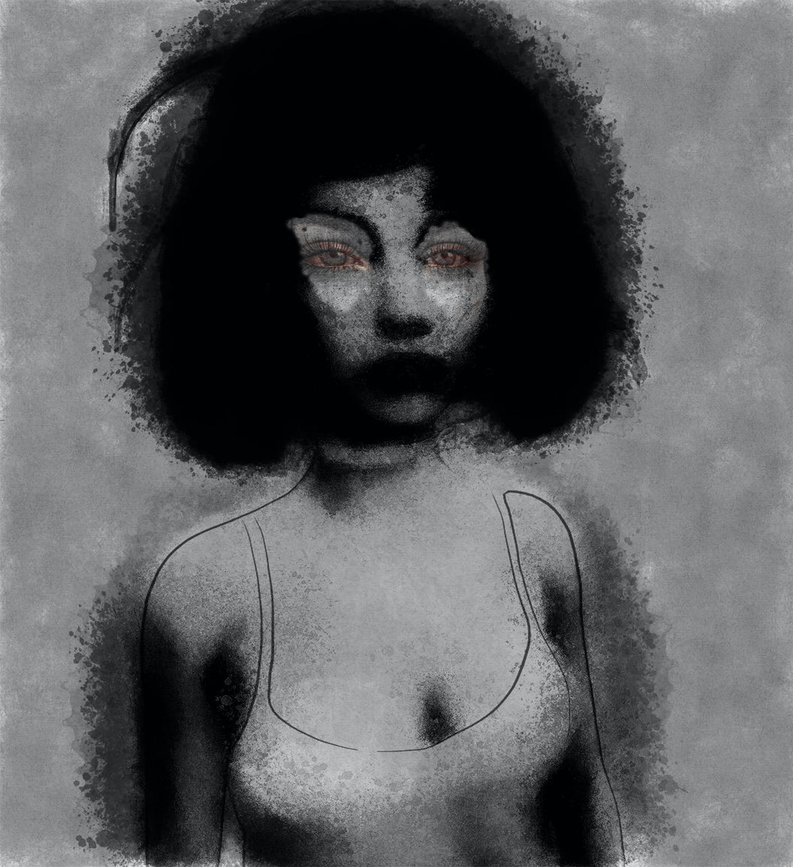 Free stock photo of black and white, digital art, girl