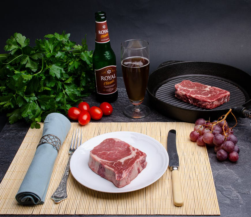 Ingredients for delicious lunch with meat and vegetables