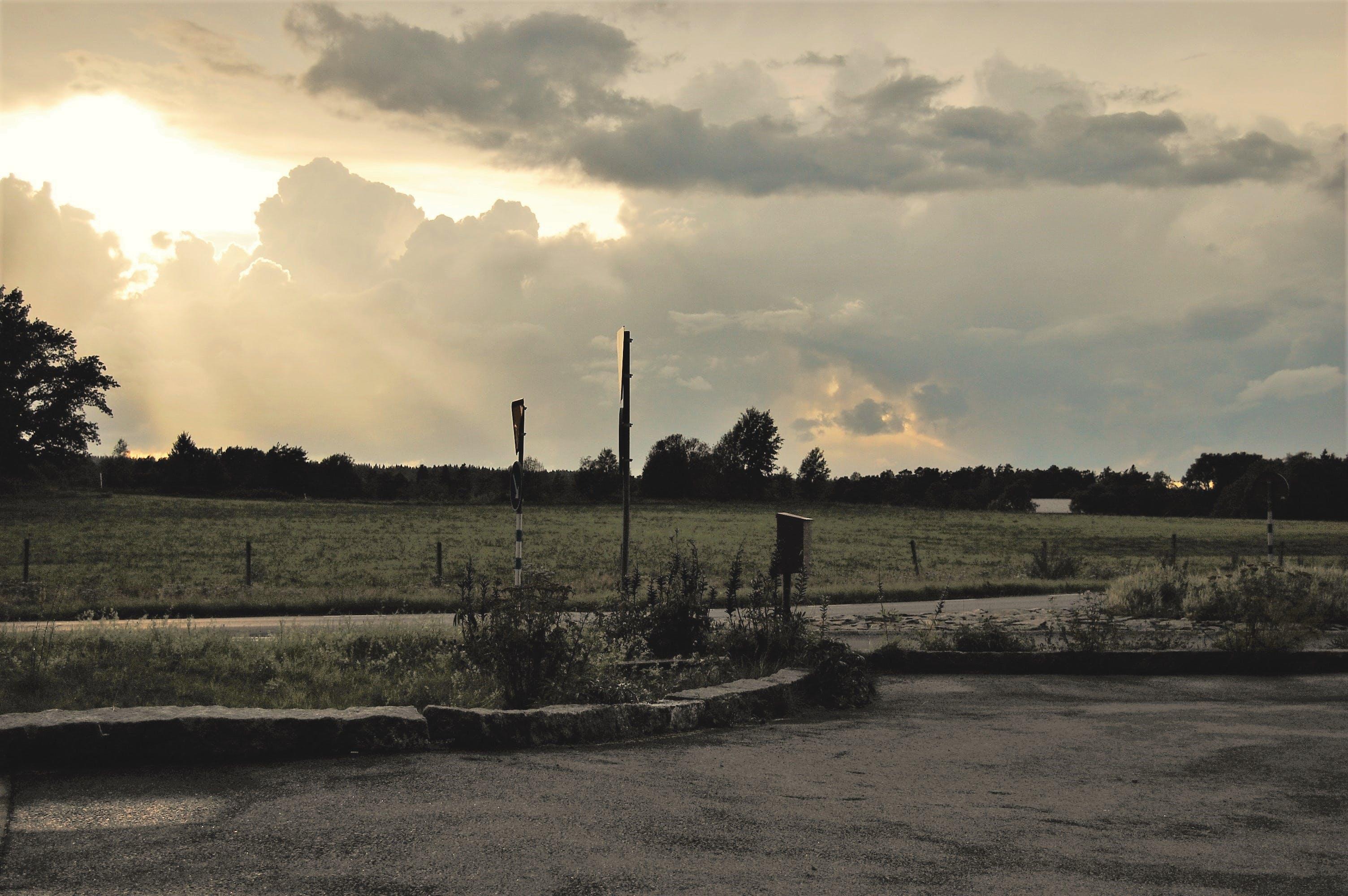 clouds, cloudy, field