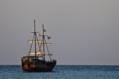 Brown Sail Ship on Sea