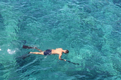 Man Snorkeling in Blue Ocean Water