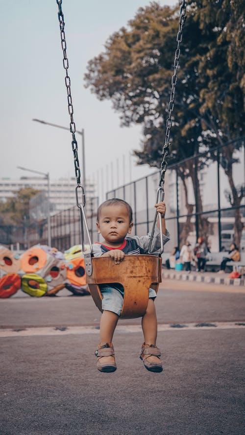 Foto profissional grátis de adorável, ao ar livre, balanço, bebê