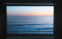 beach, ocean, glass window