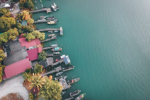 Aerial View of Houses and Boats Near Body of Water