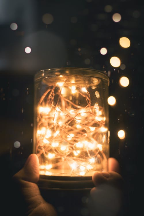 Free stock photo of aesthetic, fairy lights, glass