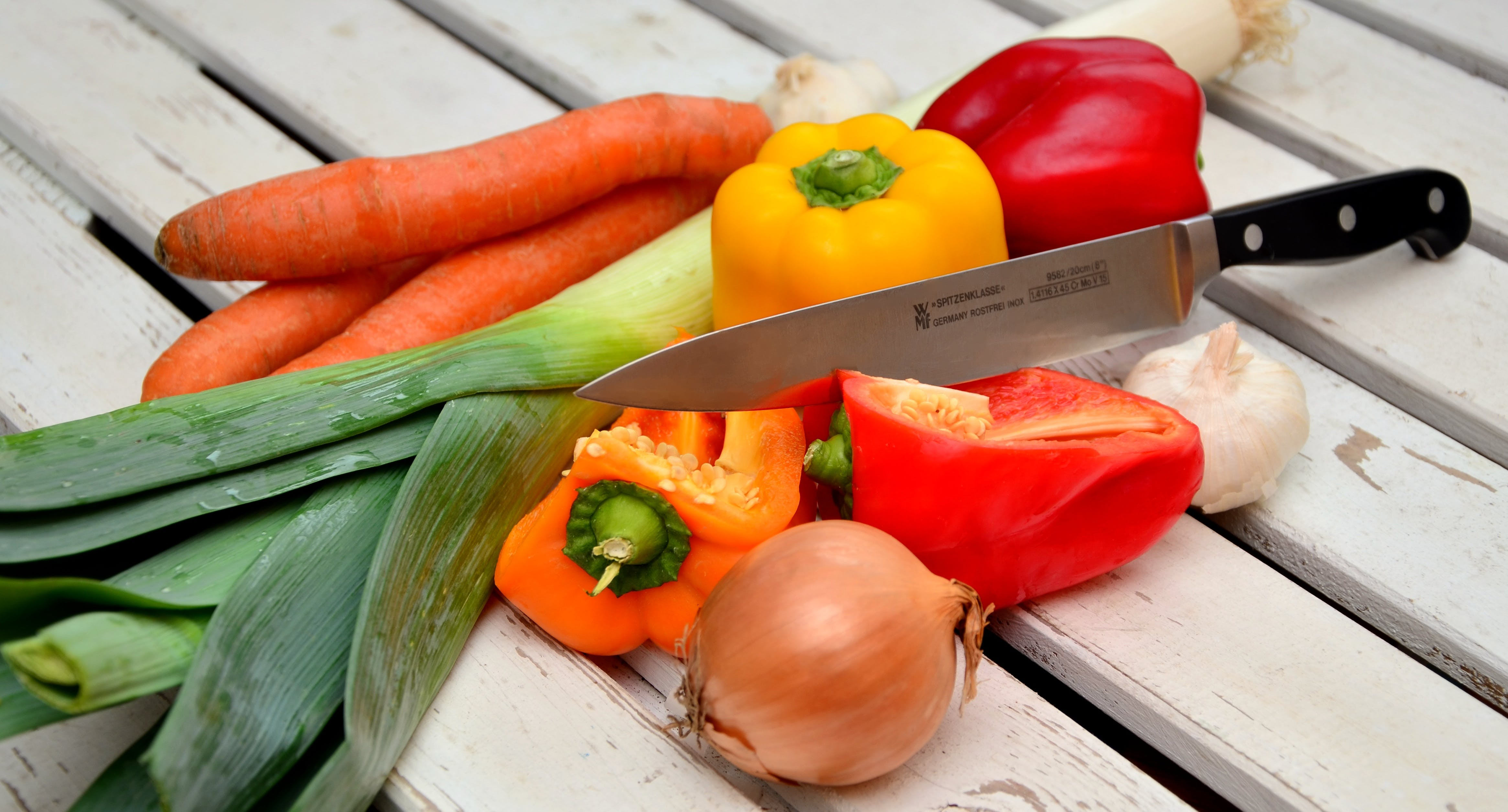 Vegetables With Knife