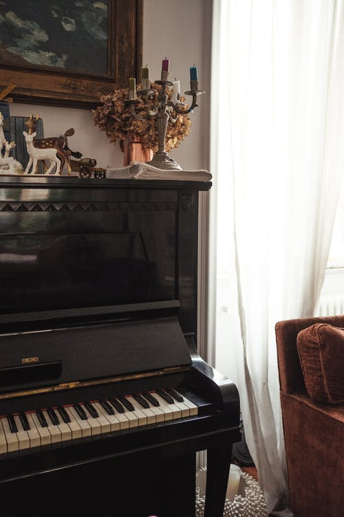 Old piano in living room