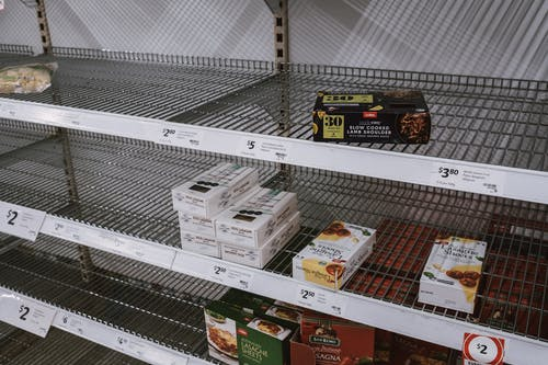 Almost Empty Shelf on Grocery Store