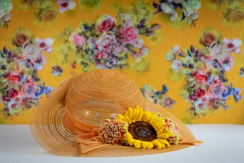 Orange Hat with Sunflower