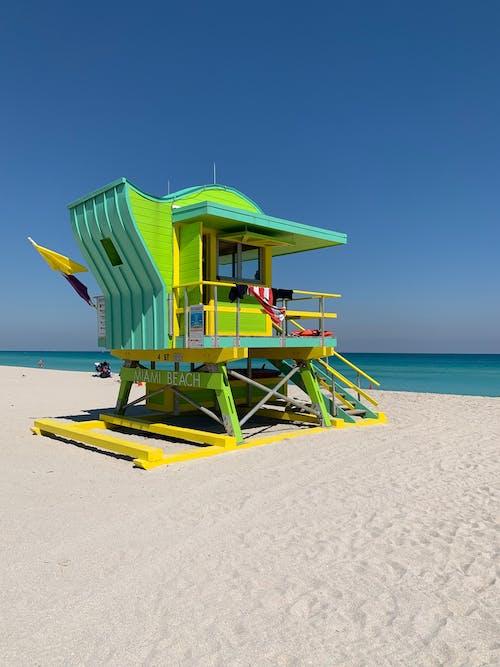 Green Wooden Lifeguard House On Beach