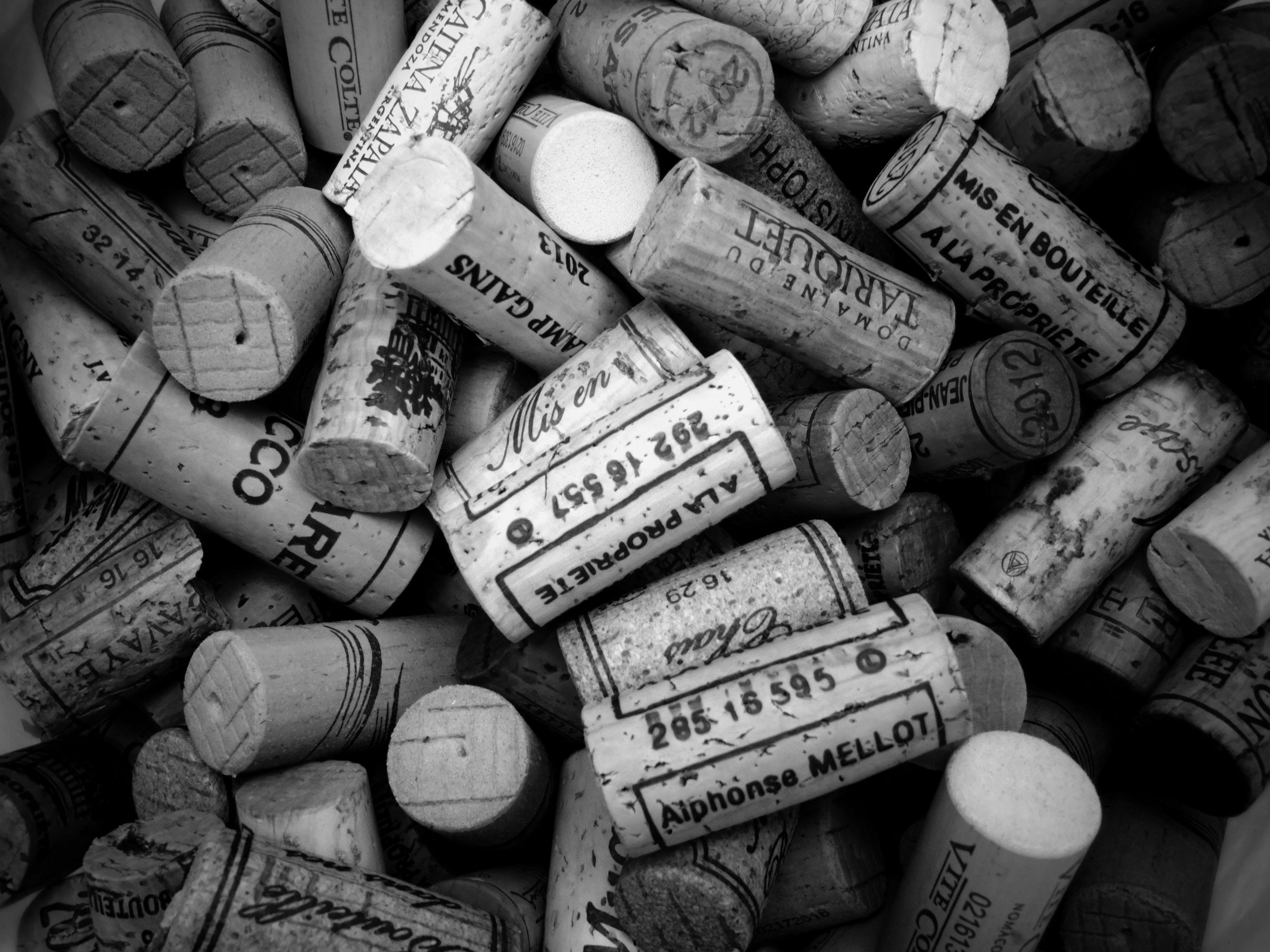 abundance, black-and-white, cork