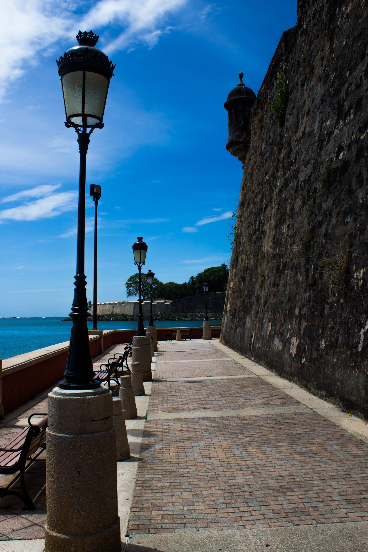 Free stock photo of Ocean view, old fort, San Juan Puerto Rico, street lights