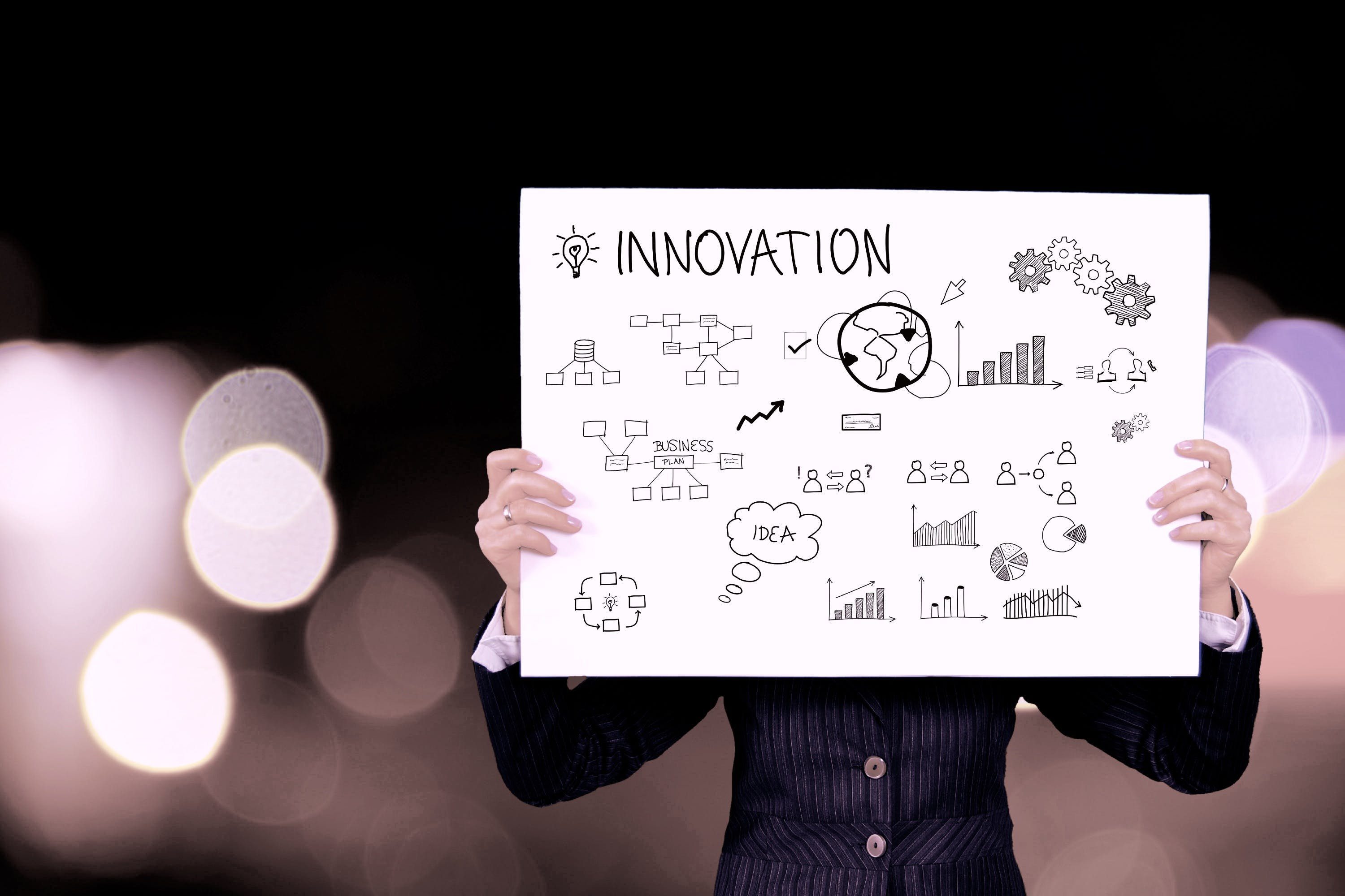 A person holding an innovation board