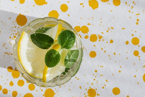 Glass of fresh cocktail with lemon and peppermint