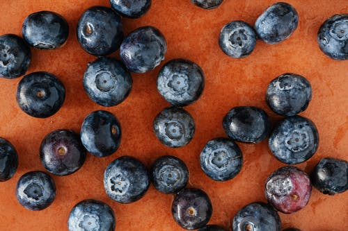 Set of blueberries on table