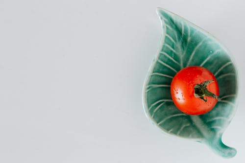 Wet tomato on ceramic plate