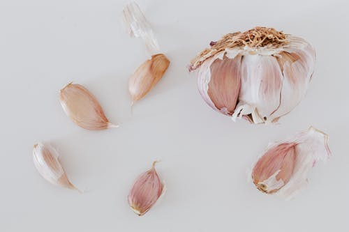 Bulb of garlic and scattered cloves of garlic in peel on gray table