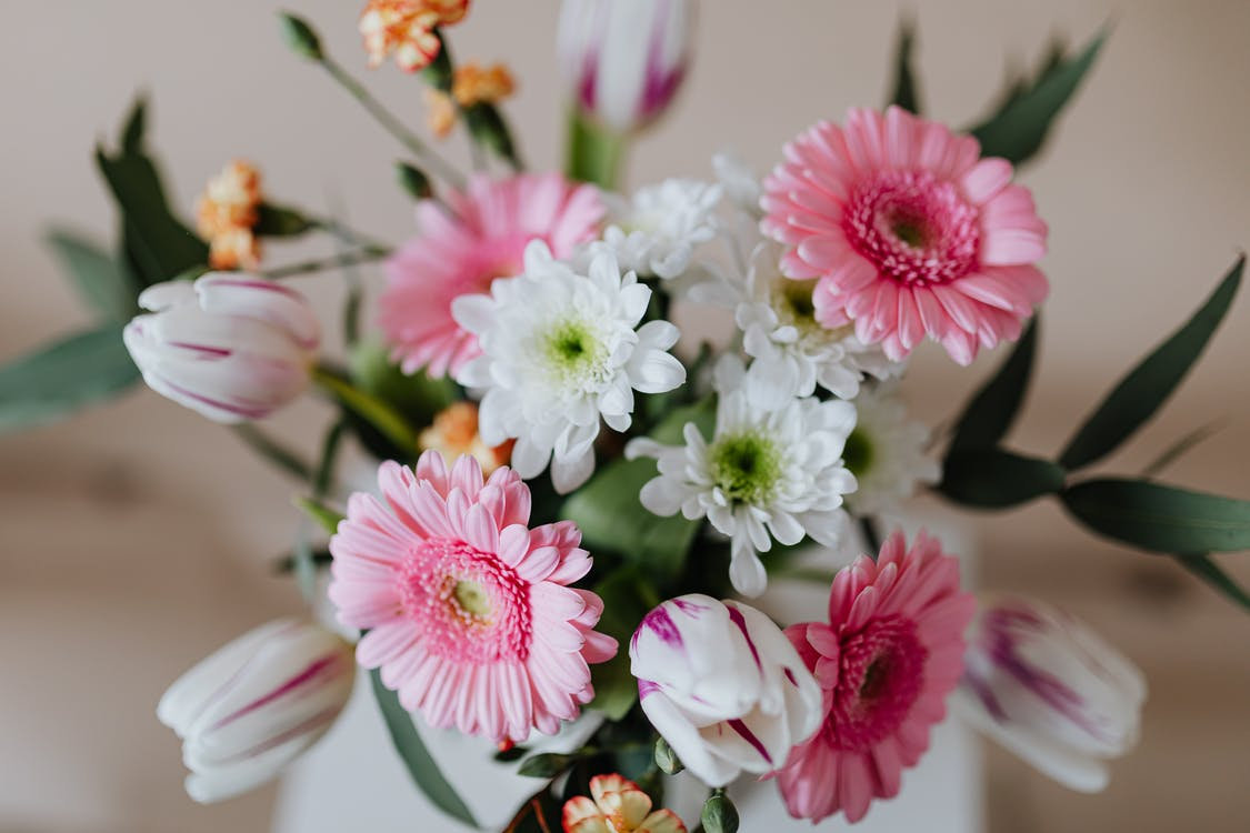 Bouquet of colorful flowers in white vase