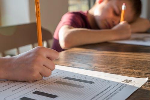Kids doing homework exercise at home