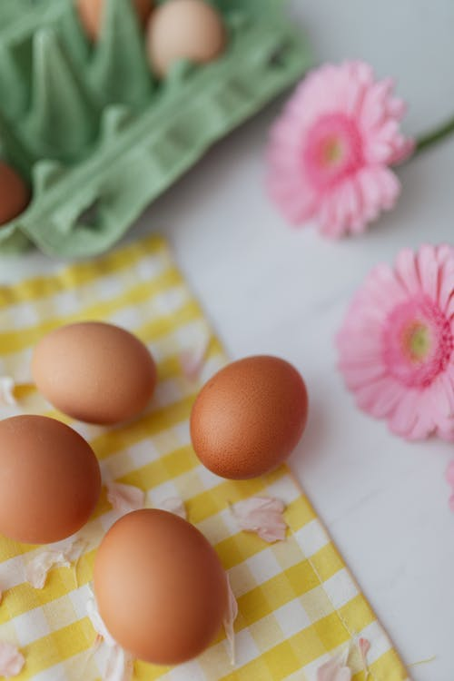 Eggs and Pink Flowers