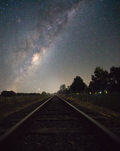 Railway Under Starry Sky