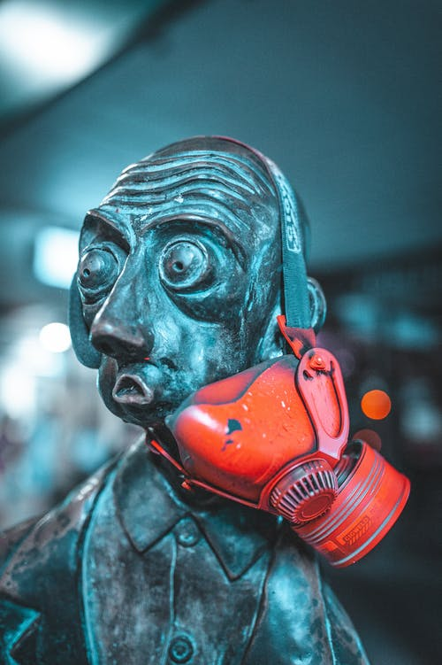 Blue and Red Mask With Face