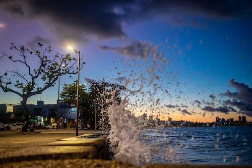Imagine de stoc gratuită din água do mar, apus, azuis luzes, céu com core intensas